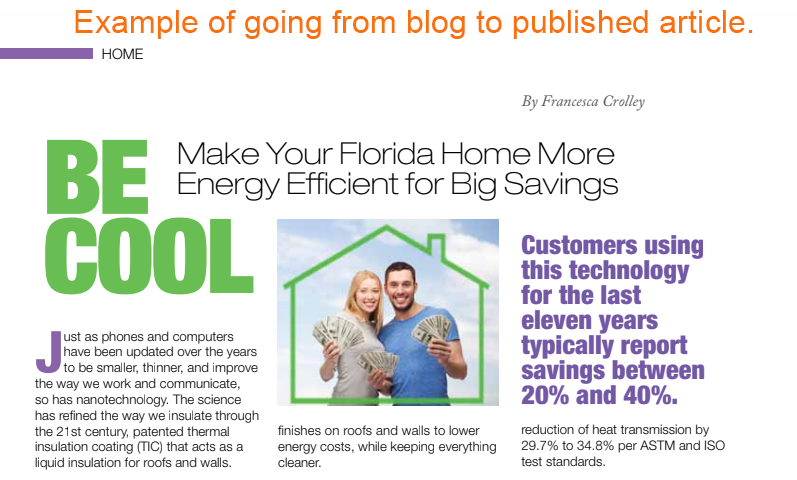 Use IT business blog for a published article