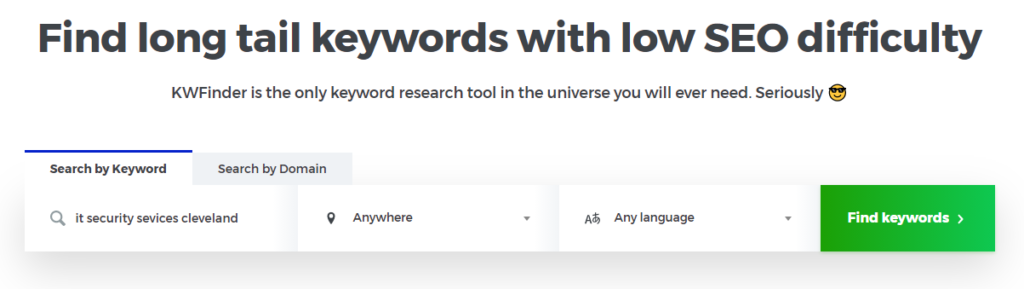 KW Finder | Keyword Tools for IT Businesses